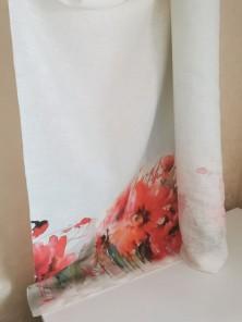 469. Ткань лён умягченный костюмный Маки