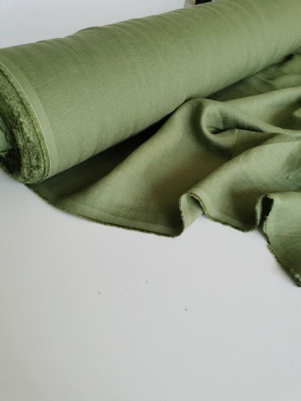 1479. Ткань лён крэш с эффектом помятости костюмный Артишок