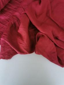 1678. Ткань крэш с эффектом помятости лён с вискозой Брусничный джем