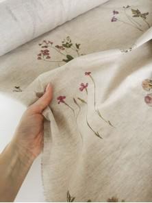 445. Ткань полулён умягченный сорочечный Летний луг на натуральном