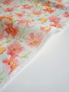 Ткань хлопок Цветы на мятном