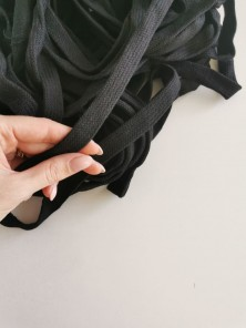 Шнур плоский х/б черный 15 мм